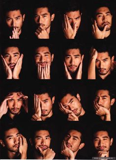 godfrey gao: Faces, Harper's Bazaar Human Poses Reference, Pose Reference Photo, Pretty Men, Beautiful Men, Godfrey Gao, Asian Male Model, Male Models Poses, Beard No Mustache, Facial Expressions
