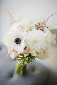 [ All white modern bouquet ] #wedding #flowers #bouquet