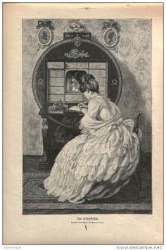 """Am Schreibtisch   - Druck, entnommen   aus """"die Gartenlaube"""", 1909"""