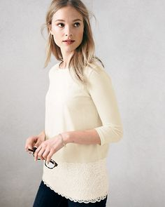 Three-Quarter-Sleeve Lace-Detail Knit Top