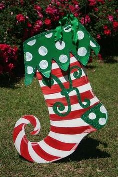 Christmas candy cane 1 pc holiday wooden yard art pinterest make it a big stocking for christmas yard solutioingenieria Image collections