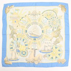 Hermes Scarf Shawl 100% Silk Carre90 LAIR MARIN  NWT Auth #Hermes #Scarf