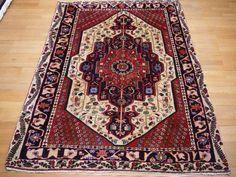 09406 Persian Afshari rug 6.8 x 4.8 ft