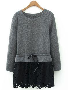 Grey Long Sleeve Contrast Hollow Hem Blouse - Sheinside.com