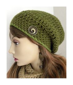 Moss Green  Slouchy Beanie  hat hand crocheted decorative brass button Boho Women's fashion Saint Patricks Day hat, $24.00