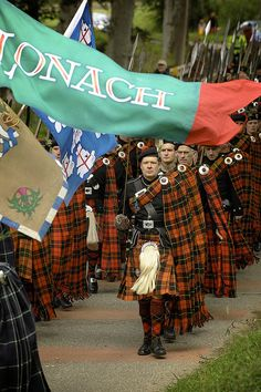 STRATHDON, SCOTLAND -- March of the Lonach Highlanders and the  Lonach Gathering are one of the great Highland games in Scotand.   Morning includes the march as the clans go from country house to  country house where their hosts toast them with a wee dram of  hospitality, otherwise known as whisky!