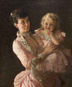 Thyra von Danemark with her daughter, 1885 (Lauritz Tuxen) (1853-1919) State Hermitage Museum, St. Petersburg