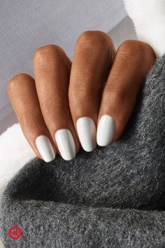 Try a white nail for a chic, modern look that will go with any outfit. Aycrlic Nails, Nail Manicure, Hair And Nails, Nail Polish, Cute Acrylic Nails, Cute Nails, Pretty Nails, Light Colored Nails, Finger
