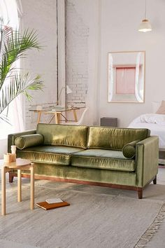 Slide View: 1: Piper Petite Velvet Sofa #PillowSet