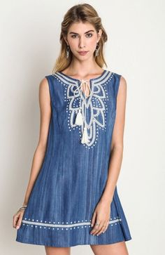 Denim Embroidered Shift Dress – The Elegant Rant Boutique | A True Online Boutique  https://elegantrant.com/products/denim-embroidered-shift-dress
