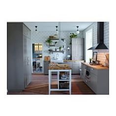 IKEA - STENSTORP, Kitchen island, Free-standing kitchen island; easy to place where you want it in the kitchen.Two fixed shelves in stainless steel, a hygienic, strong and durable material that's easy to keep clean.Countertop in solid oak, a durable, natural material that can be sanded and surface treated as needed.