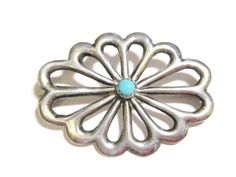 Turquoise Brooch Sterling Silver Pin Classic Navajo Flower Vintage