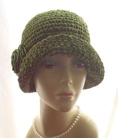16520a0629835 Details about New NWT Vintage Style Cloche Hat Satin Velvet Feathers Cotton  20s Brown Olive