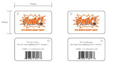 We're looking all official 'n stuff. Yay. The tags (front & back) that will be attached to the SMAC! monkeys. Phoenix is the #lungcancer fighting monkey!    #cancer #smacancer #cancersucks