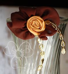 Chocolate Truffle brown chiffon ruffle & gold rosette hair accessory by #VioletsBuds https://www.etsy.com/listing/116183918/chocolate-truffle-brown-chiffon-ruffle
