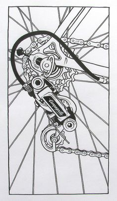 Art and Music Cycling Art, Cycling Bikes, Recycled Bike Parts, Bike Logo, Bike Illustration, Bike Poster, Mechanical Art, Bicycle Art, Drawing Projects