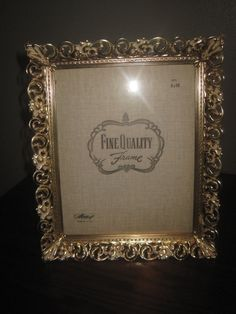 dce4f61e2f3a Mid Century Metal Brass Tone White Washed Filigree 8 x 10 Picture Photo  Frame Stand