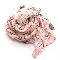 Pink Fashion Print Chiffon Scarf @Noveltylane.com