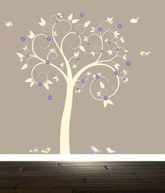 Wall Decal baby Curl Nursery tree decal Tree Birds Owls Nursery Tree cream lavender by BeautifulWalls & Purple Tree Wall Decals | wall decals - white swirl tree decal ...