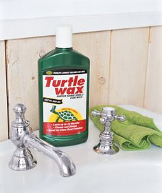Polish faucets, sinks, tile, even shower doors with Turtle Wax, which leaves behind a protective barrier against water and soap buildup, so your hard-earned sparkle will last past the next tooth-brushing.