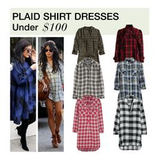 """""""Under $100: Plaid Shirt Dress"""" by polyvore-editorial ❤ liked on Polyvore featuring Chicwish, H&M, Madewell, DKNY, under100 and plaidshirtdress"""
