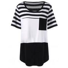 d2f3555c814 Buy wholesale plus size long stripe pocket t-shirt 2xl white and black for £
