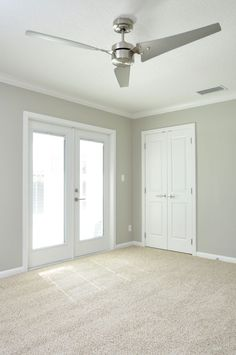 neutral shimmery gray walls with clean white trim, double french ...