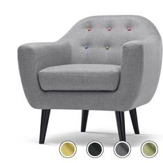 Ritchie Armchair, Pearl Grey with Rainbow Buttons Yellow Gray Bedroom, Small Grey Bedroom, Mid Century Sofa, Mid Century Design, Sterling Furniture, Rainbow Kitchen, Patterned Armchair, Pearl Grey, Upholstered Chairs