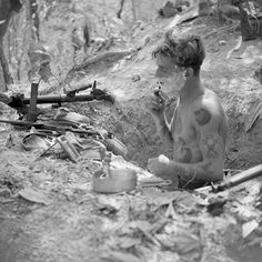 "198 Likes, 2 Comments - Edwin Jagger Shaving (@edwinjagger) on Instagram: ""Tattooed British infantryman shaving in a trench, Burma 1945."""
