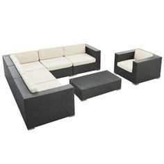 Corona Outdoor Patio Espresso 7-Piece Sectional Sofa Set | Overstock.com Shopping - Big Discounts on Modway Sofas, Chairs & Sectionals