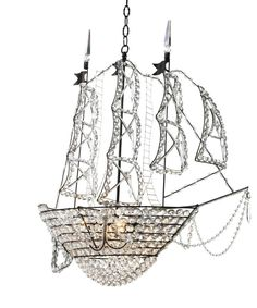 Chandeliers make wonderful decorative and functional lighting for entryways, hall or any entertaining spaces. This crystal ship chandelier is by Canopy Designs, Ltd. Chandeliers, Chandelier Lighting, Black Chandelier, Beaded Chandelier, Bliss Home And Design, Crystal Ship, Clear Crystal, Nursery Lighting, Canopy Design