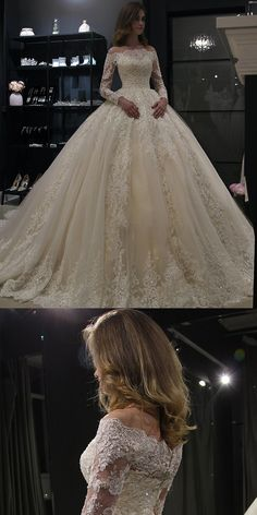 Gorgeous Lace Wedding Dresses with Appliques 2019 Puffy Tulle Bridal Dress Ball Gown Full Sleeve glamorous weddingdress bridalgowns lace ballgowns fullsleeeve offtheshoulder lacesleeve zipper elegant puffytulle newarrival 45528646219780069 Wedding Dress Empire, Wedding Dress Tea Length, Wedding Dress Black, Puffy Wedding Dresses, Wedding Gown Ballgown, Wedding Dress Sleeves, Perfect Wedding Dress, Dream Wedding Dresses, Bridal Dresses