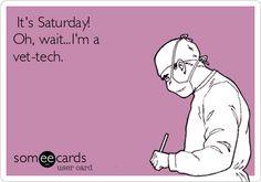 It's Saturday! Oh, wait...I'm a vet-tech. Veterinarian Technician, Veterinarian Office, Vet Tech Quotes, Vet Tech Student, Veterinary Medicine, Medicine Humor, Vet Assistant, Vet Med, Pet Clinic
