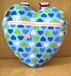 girl's blue hearts, heart backpack, school bag, nursery bag, £12.00