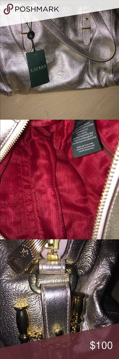 Beautiful but simple gold Ralph Lauren bag Lovely Ralph Lauren bag. Beautiful crimson interior. Beautiful RL hardware. Brand new bag with tags. No dust bag or box. Never worn. Lauren Ralph Lauren Bags