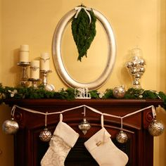 fresh juniper branches w silvery blue berries fill out this mantel and accent the mirror. costume jewelry wrapped around pillar candles and filled apothecary jar w silver ornaments Christmas Mantels, Christmas Love, All Things Christmas, Christmas Holidays, Christmas Crafts, Christmas Decorations, Holiday Decorating, Christmas 2017, Winter Holidays