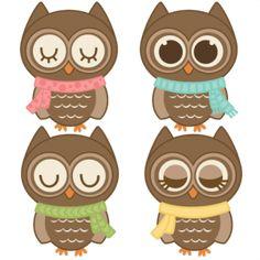 Assorted Winter Owls http://www.misskatecuttables.com/products/winter/assorted-winter-owls.php