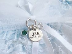 Personalized Sterling Silver Bridal Garter Charms with your Names and Date plus Swarovski Crystals of your choice. Your Something New.