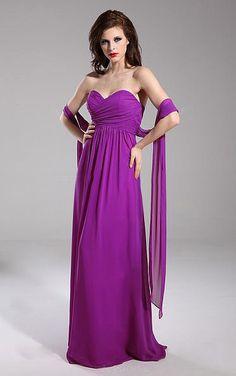 Sash A-line Sweetheart Floor-length Dress