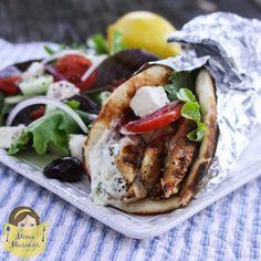 Menu Musings of a Modern American Mom: Yogurt Marinated Greek-Style Chicken Gyros