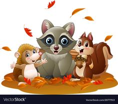 Cute Cartoon Pictures, Cute Pictures, Forest Animals, Funny Cartoons, Squirrel, Bowser, Adobe Illustrator, Hedgehog, Vector Free