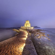 Part of the castle of Methoni by night, Peloponnese, Greece...