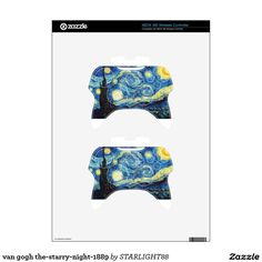 van gogh the-starry-night-1889 xbox 360 controller decal