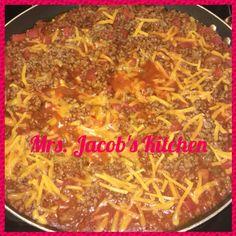 Sloppy joe Cassie served over jasmine rice