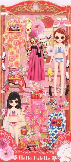 Kamio dress up doll 3D stickers geisha kimono 2