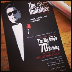 "The Godfather themed ""movie poster"" invitations for a birthday party, coming soon to a mailbox near you I Custom by Nico and Lala 70th Birthday Parties, Dad Birthday, Birthday Party Invitations, Invites, Birthday Ideas, 1920s Party Decorations, Old Hollywood Party, Mafia Party, Gangster Party"