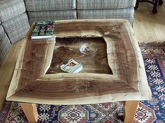 Live edges were maintained all around for this custom coffee table.