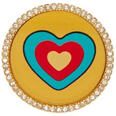 Marc Jacobs Heart Badge ($15) ❤ liked on Polyvore featuring jewelry, oro, crystal jewellery, crystal jewelry, heart-shaped jewelry, pave crystal jewelry and crystal heart jewelry