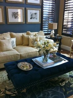 I really like this for the living room! Navy walls makes a dramatic backdrop even for traditional furnishings. My Living Room, Home And Living, Living Room Decor, Living Spaces, Small Living, Modern Living, Blue And Cream Living Room, Bedroom Decor, Cozy Living