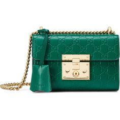 Gucci Padlock Gucci Signature Shoulder Bag (5.170 BRL) ❤ liked on Polyvore featuring bags, handbags, shoulder bags, emerald, women, handbag purse, blue leather purse, leather purses, leather shoulder handbags and handbags shoulder bags